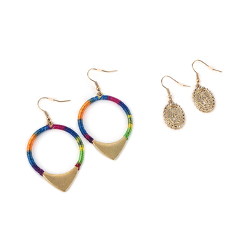 Radiant Sol, Lady of Guadalupe and Hoop Earring Set, Zinc Alloy and Nylon, Gold, 2 Pairs