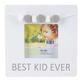 Green Tree Gallery, Best Kid Ever Wood Tabletop Photo Frame, White and Grey with Pompoms, 8 x 7 Inches