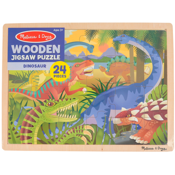 Melissa & Doug, Dinosaurs Wooden Jigsaw Puzzle, 24 Pieces, 15 3/4 x 11 3/4 inches, Ages 3 to 5