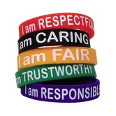 Teacher Created Resources, Character Traits Wristbands,7.25 Inches, Assorted Colors, Pack of 10