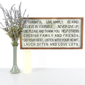 Be Thankful Live Simply Wall Plaque, MDF, White, Black, and Brown, 24 x 12 inches
