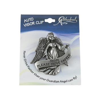 Abbey and CA Gift, Mom Please Drive Safely Angel Visor Clip, Pewter, 2 x 2 1/8 inches