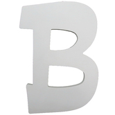 Letter B, White Wood, 9 inches
