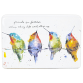 Demdaco, Hummingbirds On A Wire Plaque, Stoneware, White, 6 x 4 x 1 1/2 inches