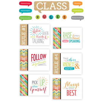TooCute Collection, Class Rules Bulletin Board Set, 18 Pieces