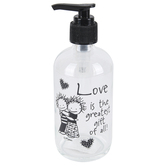 Dexsa, Love Is The Greatest Gift of All Soap Dispenser, Black & Clear, 8 ounces