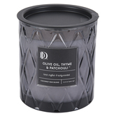 Darsee & Davids, Olive Oil, Thyme & Patchouli Diamond Patterned Jar Candle, Dark Gray, 10.6 ounces