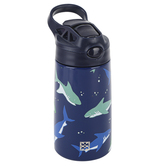 Mary Square, Under the Sea Kids Bottle with Flip Lid, Stainless Steel, Blue, 13 ounces