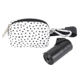 Polka Dot Dog Waste Bag Pouch, Black & White, 3 1/2 x 1 3/4 x 2 1/2 inches