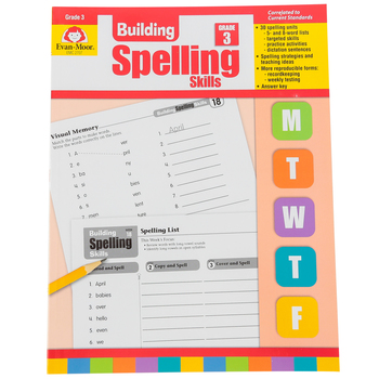 Evan-Moor, Building Spelling Skills Grade 3 Teacher's Edition, Reproducible, Paperback, 160 Pages