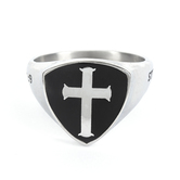 Spirit & Truth, Joshua 1:9, Strong and Courageous Shield Cross, Men's Ring, Stainless Steel, Sizes 8-13