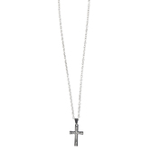 Dicksons, Engraved Woodgrain Cross Pendant Necklace, Stainless Steel, 24 inches