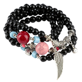 Wildflower Road, Made With Love Beaded Stretch Bracelet Set, Black, 1 Each of 4 Designs