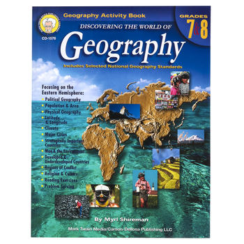 Carson-Dellosa, Discovering the World of Geography Resource Book, Reproducible, 126 Pages, Grades 7-8