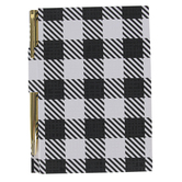 Mardel, Black and White Buffalo Check Notebook with Gold Pen Set, 80 Unlined Pages, 5.75 x 4 Inches