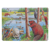 Outset Media, Beaver Pond Puzzle, 13 3/4 x 9 3/4 inches, 35 Pieces, Ages 3 & Older
