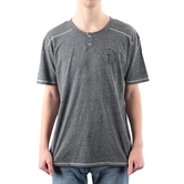 NOTW, Logo with Cross Henley, Men's Short Sleeve T-Shirt, Gray Melange, S-2XL