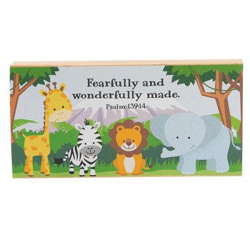 Imagine Design, Psalm 139:14, Fearfully and Wonderfully Made Animal Plaque, 7 x 3 x 1 inches