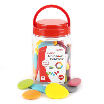 Learning Advantage, Junior Rainbow Pebbles, Assorted Colors, 36 Pieces