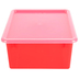 Storex, Deep Storage Tray With Clear Lid, Letter Size, Red, Plastic, 13 x 10.5 x 5 Inches, 2 Pieces