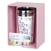 Christian Art Gifts Love In My Heart Coffee In Hand Travel Mug and Journal Boxed Gift Set, 2-Pieces