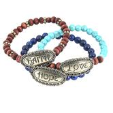 Modern Grace, Faith Hope Love Beaded Bracelet Set, Zinc Alloy, Antique Gold, 3 Pieces