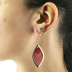 Radiant Sol, Trinity and Teardrop Earring Set, Zinc Alloy and Woven Cotton, Gold and Burgundy, 2 Pairs