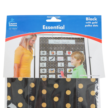 "Carson-Dellosa, Essential Gold Polka Dot Pocket Chart, 31"" x 42"", 1 Piece"
