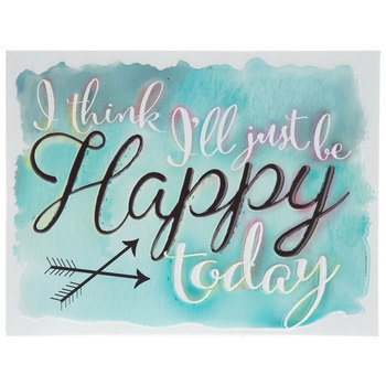 Be Happy Today Metal Wall Art, White and Turquoise, 13 x 10 inches