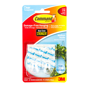 Command, Medium Hooks, Clear, 2 Pack