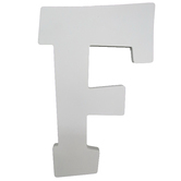 Letter F, White Wood, 9 inches