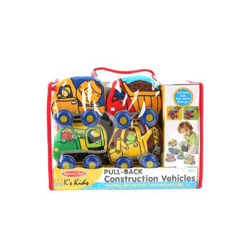 Melissa & Doug, K's Kids: Pull-Back Construction Vehicles, Ages 9 Months and Older, 4 Cars