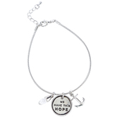 Bella Grace, Hebrews 6:19, We Have This Hope Charm Bracelet with Jewel & Anchor, Zinc Alloy, Silver