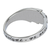 Spirit & Truth, Psalm 91:11, Guardian Angel Wing, Women's Ring, Stainless Steel, Sizes 5-9