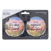 Renewing Faith, This Is The Day Car Coaster Set, Absorbent Sandstone, 2 1/2 inches