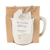 Demdaco, Welcome to the World, The Very Best Aunt Ever Coffee Mug, Ceramic, Cream, 12 ounces