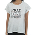 NOTW, Pray Love Forgive, Women's Cuffed Raglan Short Sleeve T-shirt, Oatmeal Heather, X-Small