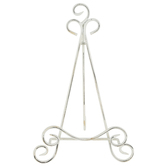 Distressed Scroll Plate Easel, Metal, White, 8 1/4 x 13 3/4 inches