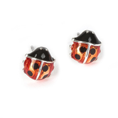 Howard's, Ear Sense, Ladybug Post Earrings, Red and Black, 1/4 Inches