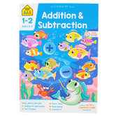 School Zone, Addition and Subtraction Deluxe Edition Workbook, Paperback, 64 Pages, Grades 1-2