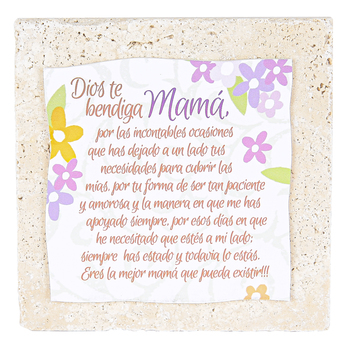 Product Concept Manufacturing, Mama Spanish Tabletop Plaque, Natural Stone, 4 x 4 inches