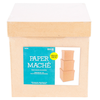 Paper Mache Square Box, Set of 3 with Removable Lids, Large 6, 7, and 8 x 8-Inches