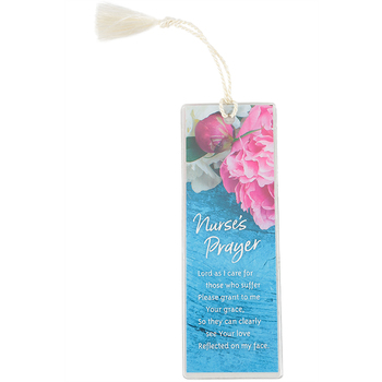 Dexsa, Nurse's Prayer Tasseled Bookmark, Paper, Blue and Pink, 2 x 6 inches