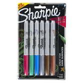 Sharpie, Metallic Color Permanent Markers, Fine Point, 1 Each of 6 Colors