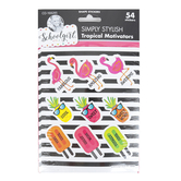 Schoolgirl Style, Simply Stylish Tropical Die-Cut Motivational Stickers, Multi-Colored, 54 Stickers