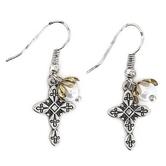 Modern Grace, Cross Pendant with Pearl Charm Dangle Earrings, Zinc Alloy, Antique Silver