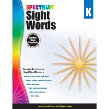 Carson-Dellosa, Spectrum Sight Words Workbook Grade K, Paperback, 160 Pages, Ages 5-6