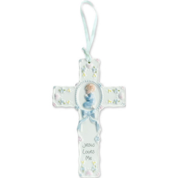 Boy Praying With Blue Ribbon Cross