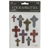 the Paper Studio, Ornate and Colorful Glitter Cross Stickers, 12 Stickers