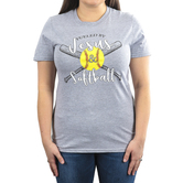Rooted Soul, Fueled By Jesus and Softball, Women's Short Sleeve T-Shirt, Sport Grey, S-2XL